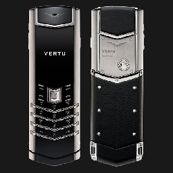 Điện thoại Vertu Signature Brushed Stainless Black Leather VT46